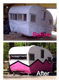 Pink & White with black detail. Before and after renovation. Black with yellow detail. Tiny Trailer - Vintage Camper - Travel Caravan <O> #rvremodelbeforandafter
