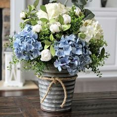 Beautiful blue and cream-white hydrangea centerpiece - . Beautiful blue and cream-white hydrangea centerpiece - # Creamy-white # Hydrangea centerpiece . Silk Floral Arrangements, Country Flower Arrangements, Table Arrangements, Flower Arrangements Hydrangeas, Wedding Arrangements, White Hydrangea Centerpieces, Wedding Centerpieces, White Hydrangeas, Wedding Table