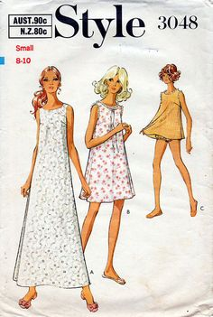 1970s Babydoll Nightdress and Panties Pattern by BessieAndMaive