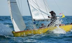 "#Classic yacht #SolentSunbeam ""Little Lady, V6"" wins the #StWilfrids'Hospice Nab Tower Race 2013. Helmed by Gayle Palmer, crewed by Ian Stobie."