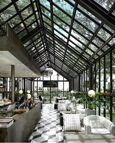 keerisnith You are in the right place about Restaurant art Here we offer you the most bea Design Bar Restaurant, Rooftop Restaurant, Thailand Restaurant, Restaurant Kitchen, Coffee Shop Design, Cafe Design, House Design, Design Design, Greenhouse Cafe
