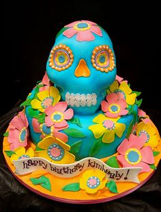 Sugar skull cake in tropical colors. Love~!