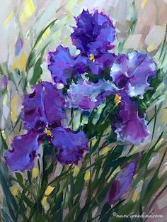 Amethyst Ballet and Irises in December - Nancy Medina Videos and Art Classes, painting by artist Nancy Medina