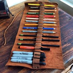 Warrington pencil case handmade leather pen by LUSCIOUSLEATHERNYC