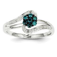 14K White Gold White & Blue Diamond Circle Ring - QGY11923AA - KevinJewelers.com