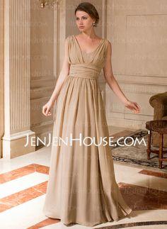 Mother of the Bride Dresses - $128.99 - A-Line/Princess V-neck Floor-Length Chiffon Mother of the Bride Dress With Ruffle (008024440) http://jenjenhouse.com/A-Line-Princess-V-Neck-Floor-Length-Chiffon-Mother-Of-The-Bride-Dress-With-Ruffle-008024440-g24440