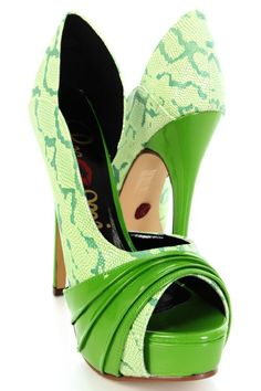 Green Faux leather Snake Skin Pleated Patent Heels