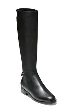 Cole Haan Isabell Stretch Back Riding Boot In Black Leather Black Riding Boots, Leather Riding Boots, Black Leather Boots, Cole Haan Shoes, Calves, Shoe Boots, Nordstrom, Chic, Heels