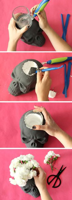 halloween party decor step three Learn how to make your own DIY Skull Vase plus more gorgeous black and white Halloween party ideas! These simple DIY halloween crafts will make your party extra special this year. Spooky Halloween, Table Halloween, Easy Halloween Decorations, Halloween Party Decor, Diy Party Decorations, Halloween 2017, Holidays Halloween, Halloween Crafts, Funny Halloween