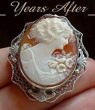 # YearsAfter ART DECO Carved CAMEO Brooch Lady Roses Filigree STERLING Silver Hallmarked c.1920's!