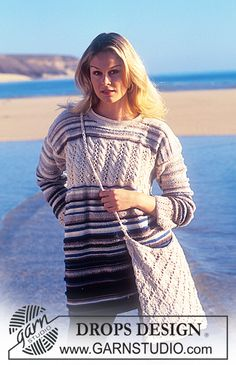 Knitted sweater & bag patterns, free from Garnstudio