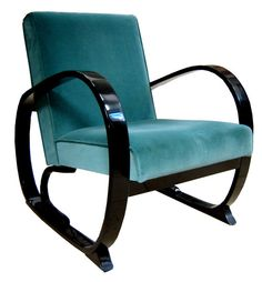 American Art Deco Black Lacquer and Green Velour Armchair