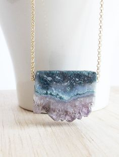 Natural Druzy Amethyst Slice Necklace Boho Jewelry Modern Unique Pendant Layering Raw Stone