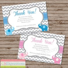 Thank You Cards For Baby Shower Party  My Shower