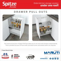 The universal structure of Spitze pull out allow you to mix and match drawers independently. #spitzebyeveryday #DrawerPullOuts #KitchenStorageSolutions