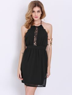 Black Halter Backless With Lace Dress