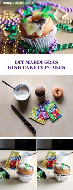 DIY King Cake Cupcakes Recipe and Tutorial for Mardi Gras - Great idea for a kids party or for an adult celebration to make a cupcake that looks like mini king cakes, complete with icing and purple, green, and gold!
