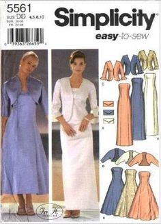 Simplicity Pattern 5561 Misses Size 4,6,8,10 Easy Formal Prom Flared Straight Dress Jacket Shrug