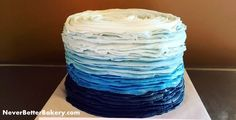 Blue Ombre Cake for a little boy's first birthday. Vanilla Cake with Vanilla Buttercream. July 2016