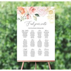 Personalised White, Blush and Rose Gold Floral Wedding Table / Seating Plan Invitation Envelopes, Floral Invitation, Blush And Gold, Rose Gold, Blush Pink, Wedding Table Seating, Grey Wedding Invitations, Blush Roses, Watercolor Wedding