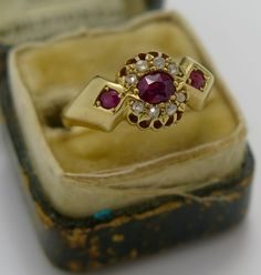 A Ladies Victorian gold Ruby Diamond ring 1904 from georgian-gold on Ruby Lane Ruby Diamond Rings, 1900s Fashion, Gibson Girl, Victorian Gold, Memento Mori, Ruby Lane, Georgian, 18k Gold, Antique Jewelry