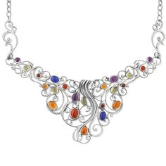 Carolyn Pollack Sterling Silver Multi Color Statement Necklace