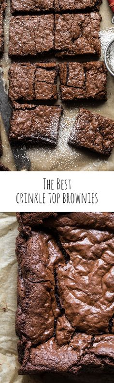 The best Crinkle Top Brownies Cookie Desserts, Easy Desserts, Delicious Desserts, Yummy Treats, Sweet Treats, Dessert Recipes, Frosting Recipes, Best Brownie Recipe, Brownie Recipes