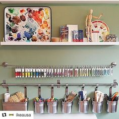 Cluttered craft room? The #IKEAHomeTour Squad used wall storage like the #IKEA GRUNDTAL rail and the DIGNITET curtain wire to hang craft supplies in their craft room.#Repost @ikeausa with @repostapp
