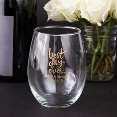 small personalized stemless wine glass wedding favors pinterest