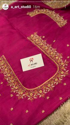 Black Blouse Designs, Hand Work Blouse Design, Simple Blouse Designs, Bridal Blouse Designs, Peacock Embroidery Designs, Maggam Work Designs, Simple Embroidery, Bride Look, Hand Designs