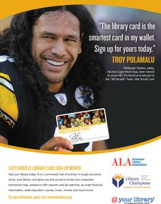 Troy Polamalu, Honorary Chair of Library Card Sign-up Month 2012