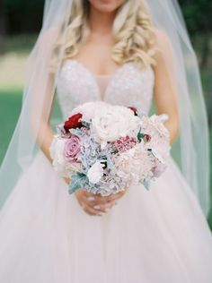 Classic bouquet with peonies, dusty miller, roses and Hydrangea by The Flower Girl  Photo by Julie Paisley Photography