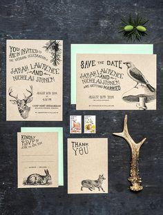 Woodland Animal Wedding Invitation Set of 4 by 3EggsDesign on Etsy Forest Wedding Invitations, Floral Wedding Invitations, Wedding Stationary, Woodland Wedding, Rustic Wedding, Woodland Party, Wedding Paper, Wedding Cards, Egg Designs