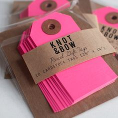 Neon Pink Parcel Gift Tags / Set of 10 Business Card Displays, Craft Show Displays, Display Ideas, Brown Paper Packages, Vide Dressing, Gift Packaging, Paper Packaging, Packaging Ideas, Everything Pink