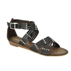 AMPLY-1 Women Ankle Strap Sandals - Black