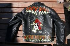 LEATHER JACKETS hand painted type letters fonts text vintage retro graphic design