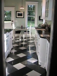 That Floor Tho! This Black Quartz And White Kitchen Floor Design Is So Cool!