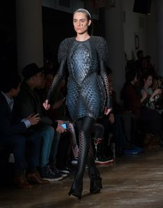 "New York fashion house Threeasfour has unveiled a pair of 3D-printed dresses based on biological forms and textures. The dresses, called Harmonograph and Pangolin, were unveiled on Monday at Threeasfour's Autumn Winter 2016 runway show during New York Fashion Week. They form part of the brand's Biomimicry collection, and are intended to demonstrate the ""possibilities unfolding at the intersection of fashion, design and technology""."