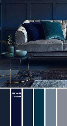 Navy Blue And Grey Living Room, Dark Blue Rooms, Navy Living Rooms, Blue Living Room Decor, Dark Grey Carpet Living Room, Navy And Brown, Dark Navy Blue, Living Room Color Combination, Living Room Color Schemes