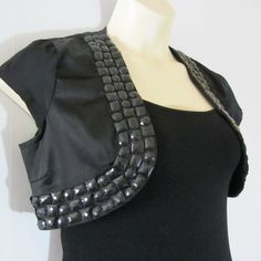 Charlotte Russe Womens Cap Sleeves Satin Bolero Black Large #CharlotteRusse #Bolero #EveningOccasion