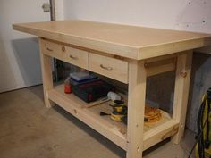 Workbench with Plywood and Hardboard top