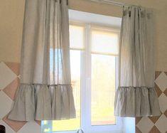 Linen kitchen curtains set of Ruffle farmhouse curtains Linen cafe curtain Shabby chic curtains White Lined Curtains, Ruffle Curtains, Shabby Chic Curtains, Farmhouse Curtains, Cafe Curtains, Custom Curtains, Linen Curtain, Cortinas Shabby Chic, Rideaux Shabby Chic