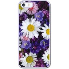 White Daisies And Purple Flowers iPhone 5/5S/SE Hard Case White iPhone... ($20) ❤ liked on Polyvore featuring accessories and tech accessories