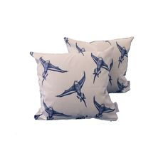 Bugdie bird in flight patterned cushion pillow - COVER ONLY - Handmade UK rustic - Blue & White Cotton 48cm x 48cm (fits 50cm x 50cm filler)