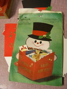 Vintage Hallmark Snowman Christmas Card Holder Centerpiece Decoration | eBay