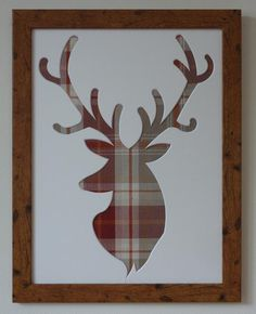 Stag's head picture frame - tartan fabric