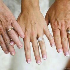 Bride, mom and grandma, showing their wedding rings