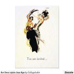 Shop Art Deco Jazz Age Invitation created by CollageInArt. 1920s Speakeasy, Speakeasy Party, Retro Art, Retro Vintage, 1920s Jazz, Define Fashion, Art Deco Invitations, Deco Font, Laide