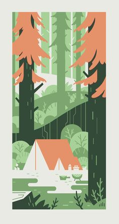 The digital comp for a gouache illustration I did for some good friends who just had a baby. They enjoy camping.