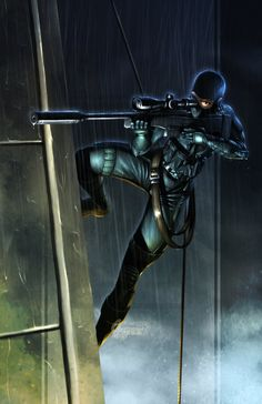 Cyberpunk, Future, Futuristic, Rooftop stealth sniper. FOXTROT_for_7377 by *totmoartsstudio2 on deviantART